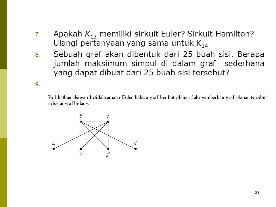25 7.Apakah K 13 memiliki sirkuit Euler. Sirkuit Hamilton.
