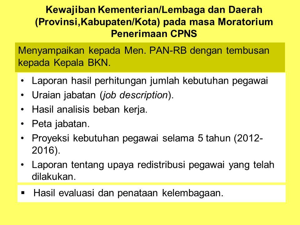Kewajiban Kementerian/Lembaga dan Daerah (Provinsi,Kabupaten/Kota) pada masa Moratorium Penerimaan CPNS •Laporan hasil perhitungan jumlah kebutuhan pegawai •Uraian jabatan (job description).