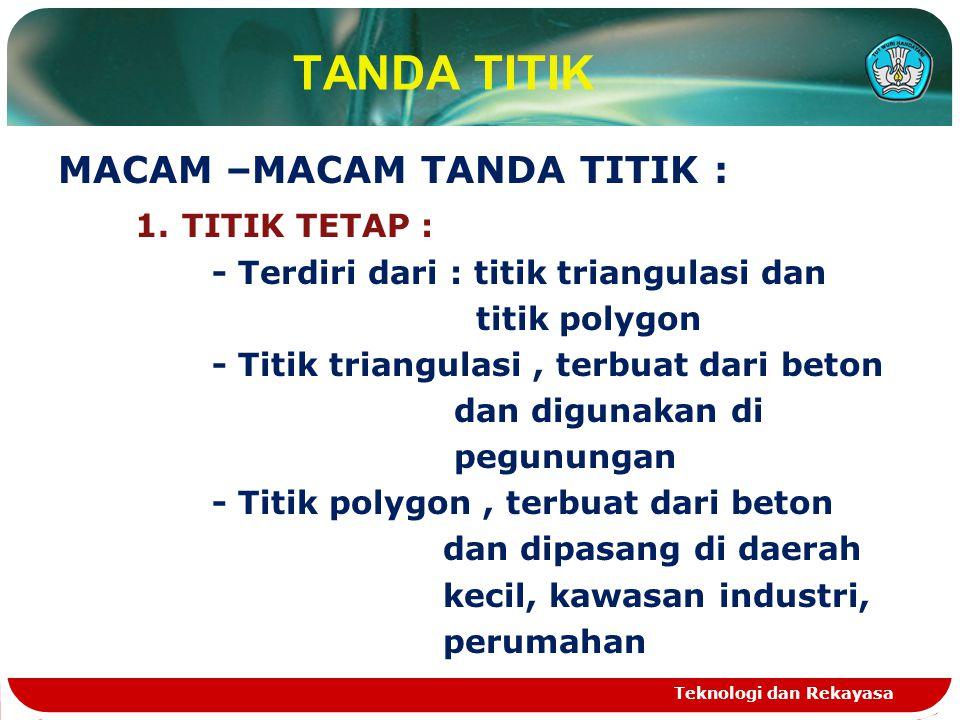 TANDA TITIK MACAM –MACAM TANDA TITIK : 1. TITIK TETAP : - Terdiri dari : titik triangulasi dan titik polygon - Titik triangulasi, terbuat dari beton d