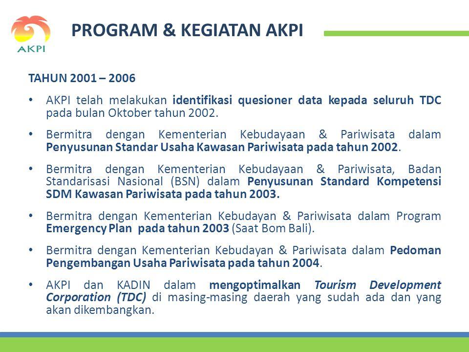 PROGRAM & KEGIATAN AKPI TAHUN 2001 – 2006 • AKPI telah melakukan identifikasi quesioner data kepada seluruh TDC pada bulan Oktober tahun 2002.
