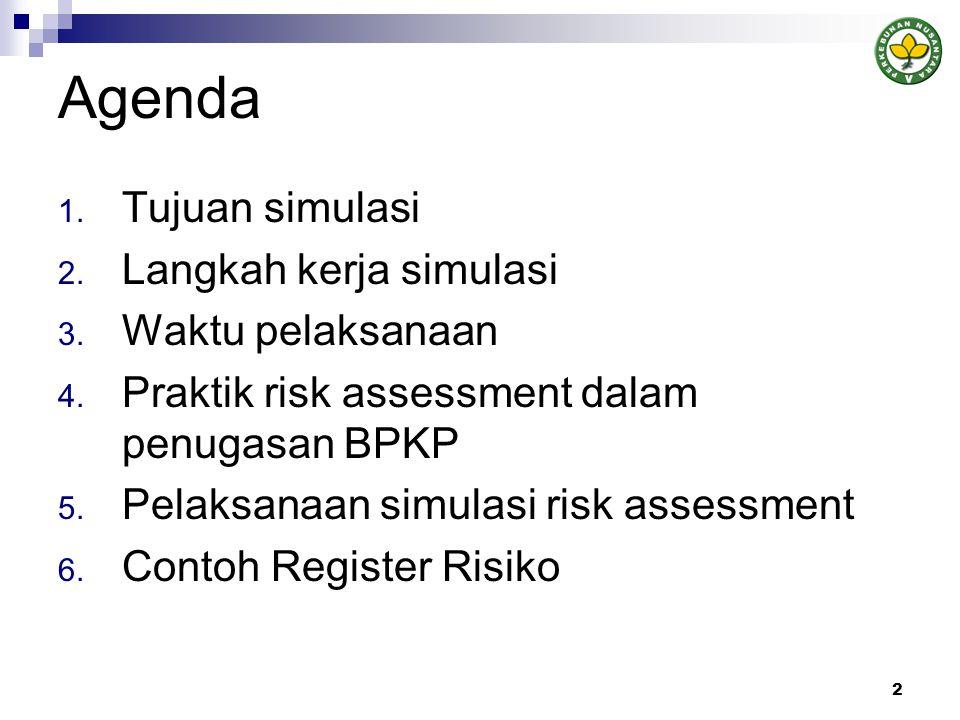Tujuan Simulasi Peserta mendapatkan pemahaman mengenai aplikasi konsep manajemen risiko dan prosedur risk assessment yang meliputi: - pemahaman bisnis perusahaan - identifikasi sasaran/tujuan perusahaan - identifikasi risiko - identifikasi pengendalian risiko yang ada - pengukuran risiko - penentuan perlakuan risiko yang akan dilakukan - dokumentasi risiko 3