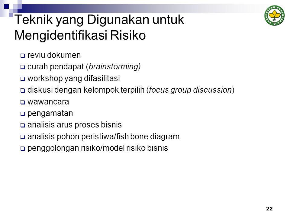 Teknik yang Digunakan untuk Mengidentifikasi Risiko  reviu dokumen  curah pendapat (brainstorming)  workshop yang difasilitasi  diskusi dengan kelompok terpilih (focus group discussion)  wawancara  pengamatan  analisis arus proses bisnis  analisis pohon peristiwa/fish bone diagram  penggolongan risiko/model risiko bisnis 22