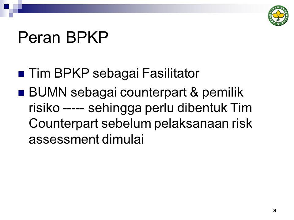 Peran BPKP  Tim BPKP sebagai Fasilitator  BUMN sebagai counterpart & pemilik risiko ----- sehingga perlu dibentuk Tim Counterpart sebelum pelaksanaan risk assessment dimulai 8