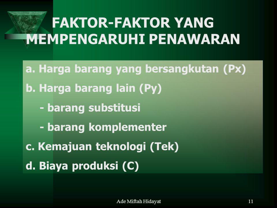 Ade Miftah Hidayat11 FAKTOR-FAKTOR YANG MEMPENGARUHI PENAWARAN a. Harga barang yang bersangkutan (Px) b. Harga barang lain (Py) - barang substitusi -