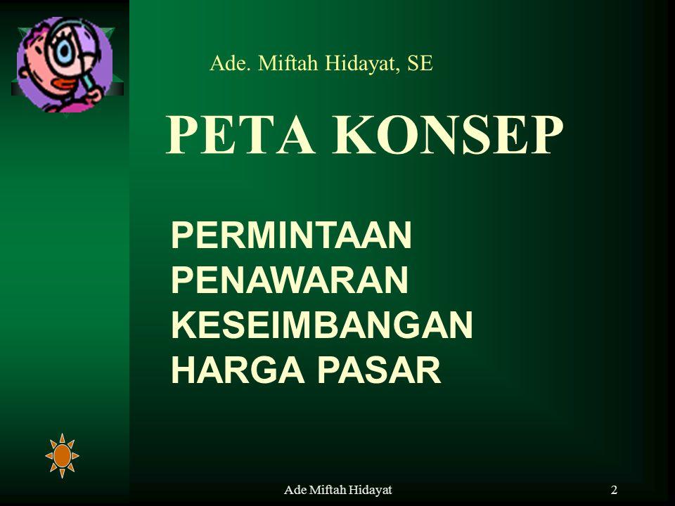 Ade Miftah Hidayat3 Permintaan (demand) adalah berbagai jumlah barang dan jasa yang diminta pada berbagai tingkat harga dan Kuantitas serta waktu dan tempat tertentu PERMINTAAN