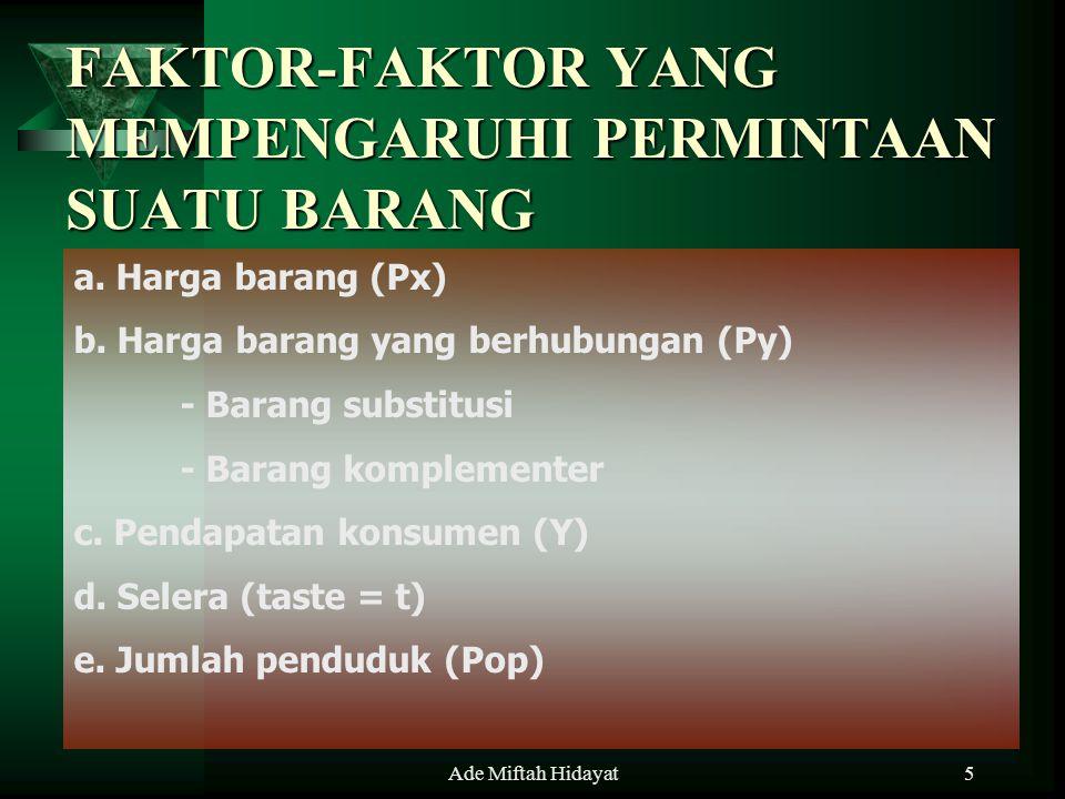 Ade Miftah Hidayat5 FAKTOR-FAKTOR YANG MEMPENGARUHI PERMINTAAN SUATU BARANG a. Harga barang (Px) b. Harga barang yang berhubungan (Py) - Barang substi