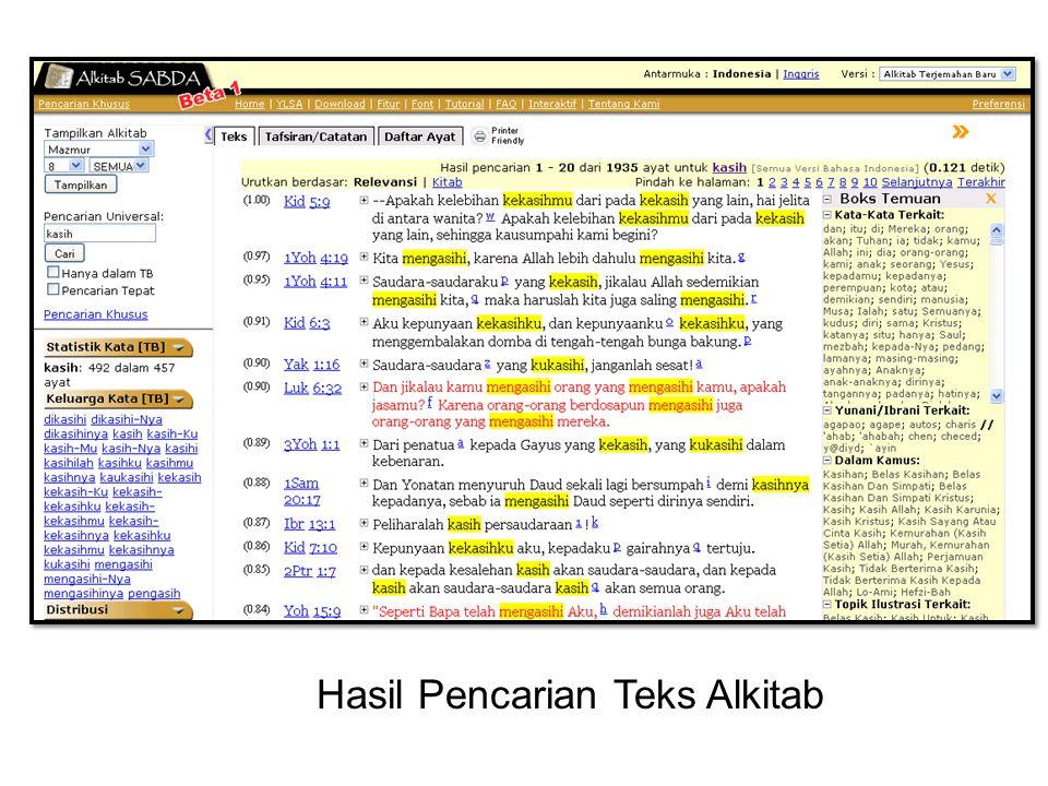 Hasil Pencarian Teks Alkitab