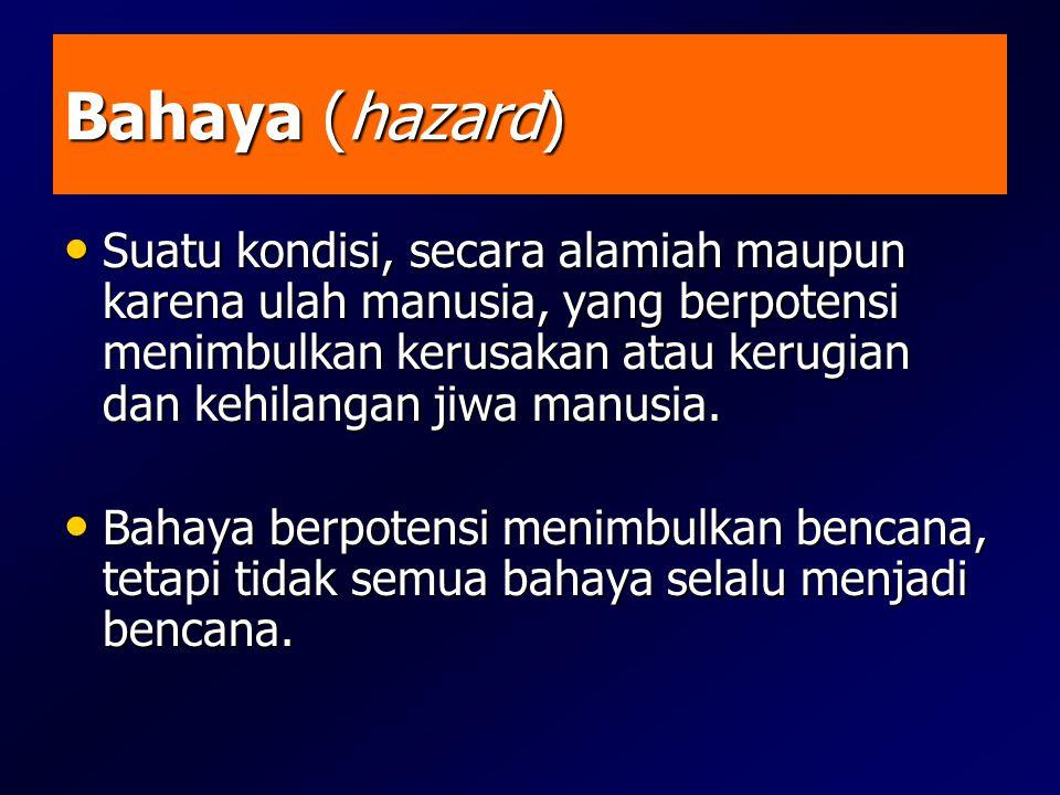 Bahaya (hazard) • Suatu kondisi, secara alamiah maupun karena ulah manusia, yang berpotensi menimbulkan kerusakan atau kerugian dan kehilangan jiwa ma