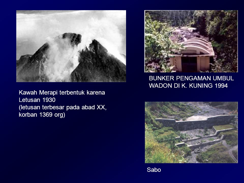 BUNKER PENGAMAN UMBUL WADON DI K. KUNING 1994 Kawah Merapi terbentuk karena Letusan 1930 (letusan terbesar pada abad XX, korban 1369 org) Sabo