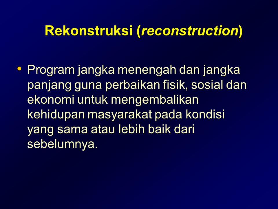 Rekonstruksi (reconstruction) • Program jangka menengah dan jangka panjang guna perbaikan fisik, sosial dan ekonomi untuk mengembalikan kehidupan masy
