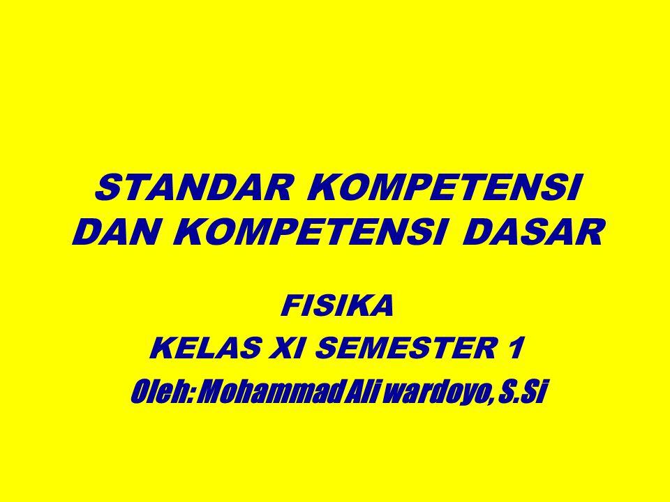 STANDAR KOMPETENSI DAN KOMPETENSI DASAR FISIKA KELAS XI SEMESTER 1 Oleh: Mohammad Ali wardoyo, S.Si