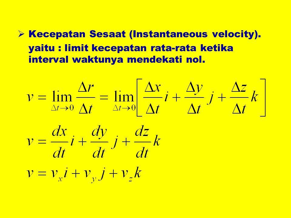  Kecepatan Sesaat (Instantaneous velocity). yaitu : limit kecepatan rata-rata ketika interval waktunya mendekati nol.