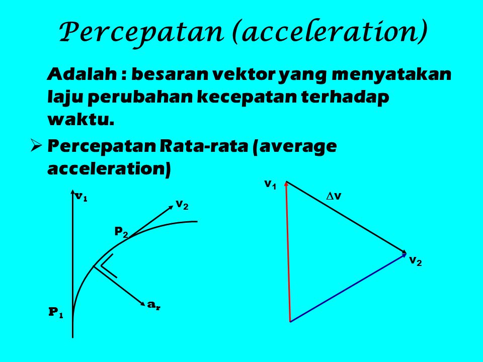Percepatan (acceleration) Adalah : besaran vektor yang menyatakan laju perubahan kecepatan terhadap waktu. PPercepatan Rata-rata (average accelerati
