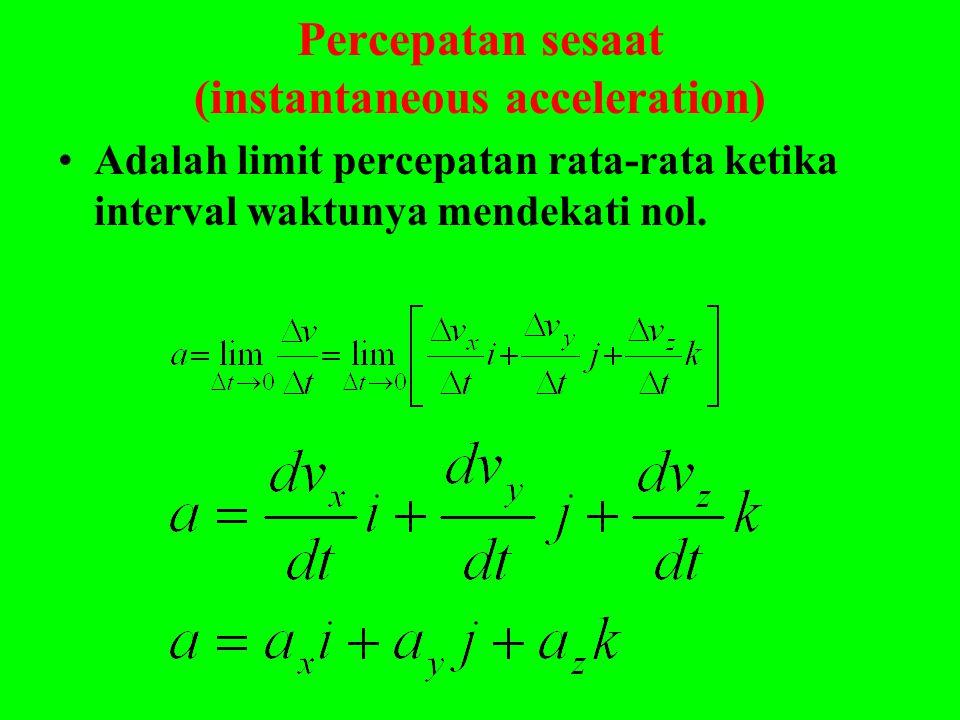 Percepatan sesaat (instantaneous acceleration) •Adalah limit percepatan rata-rata ketika interval waktunya mendekati nol.