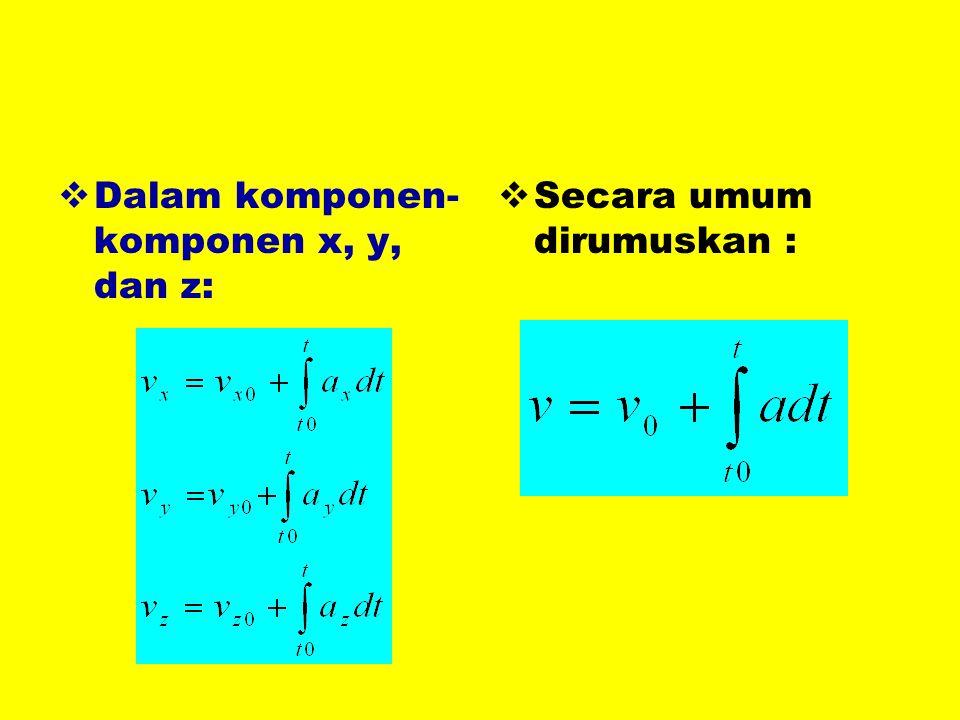  Dalam komponen- komponen x, y, dan z:  Secara umum dirumuskan :