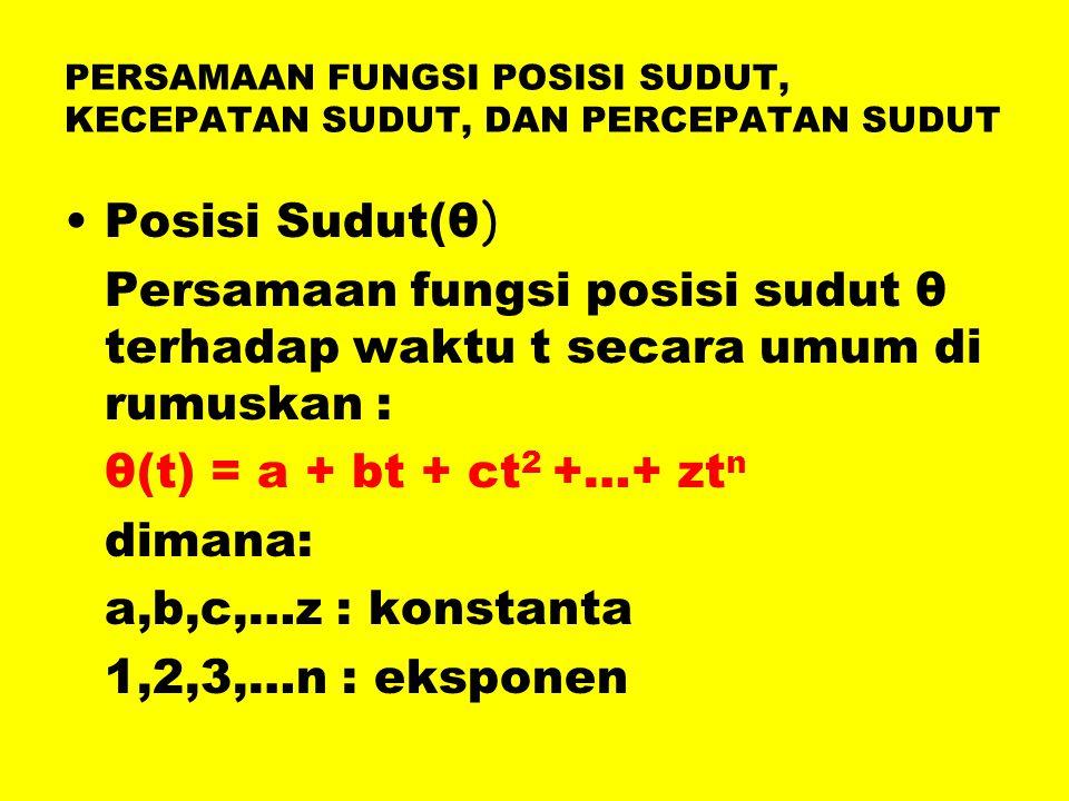 PERSAMAAN FUNGSI POSISI SUDUT, KECEPATAN SUDUT, DAN PERCEPATAN SUDUT •Posisi Sudut(θ ) Persamaan fungsi posisi sudut θ terhadap waktu t secara umum di rumuskan : θ(t) = a + bt + ct 2 +…+ zt n dimana: a,b,c,…z : konstanta 1,2,3,…n : eksponen