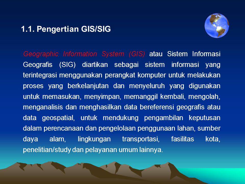 1.1. Pengertian GIS/SIG Geographic Information System (GIS) atau Sistem Informasi Geografis (SIG) diartikan sebagai sistem informasi yang terintegrasi