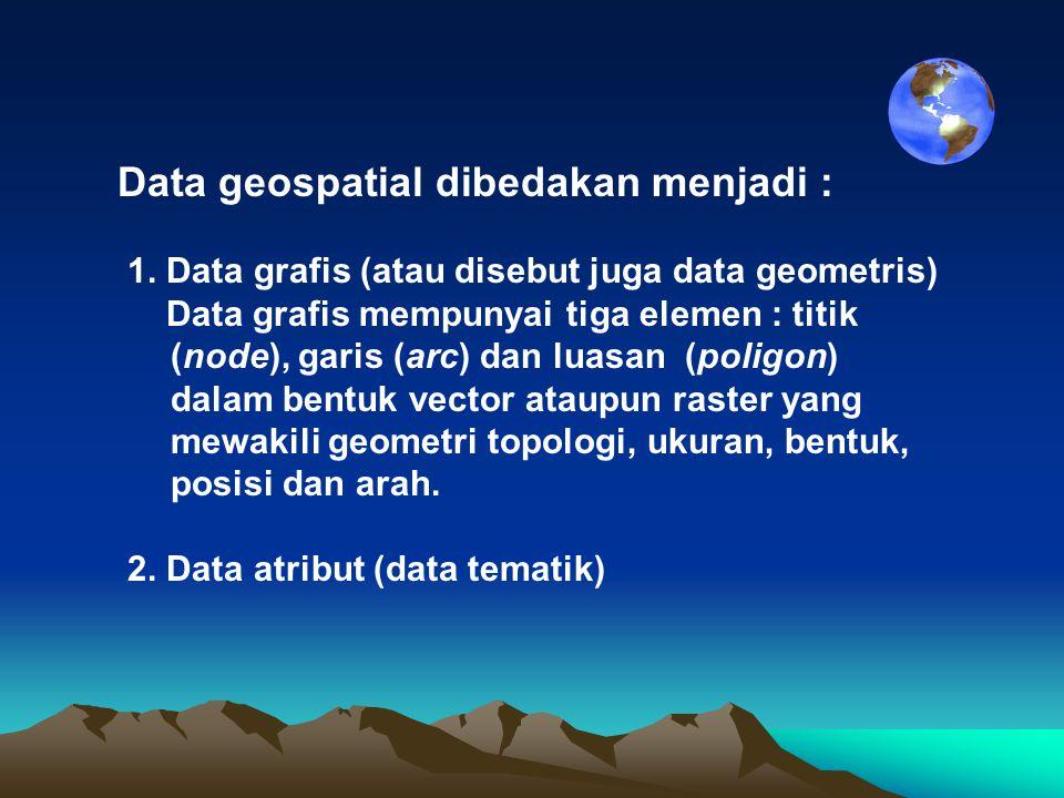 Data geospatial dibedakan menjadi : 1. Data grafis (atau disebut juga data geometris) Data grafis mempunyai tiga elemen : titik (node), garis (arc) da