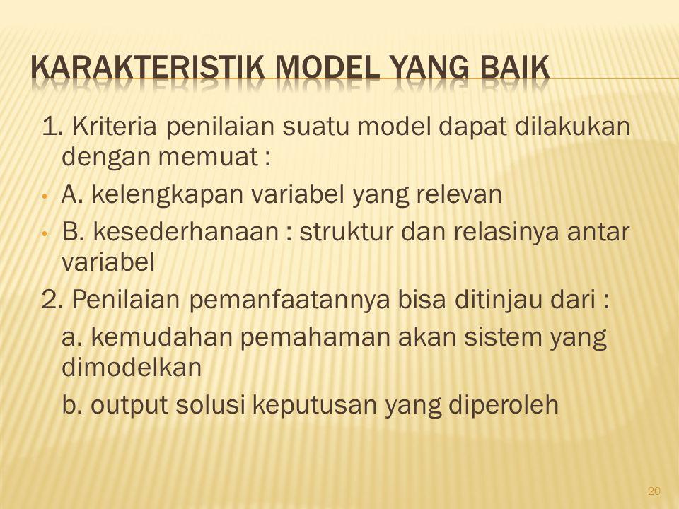 1. Kriteria penilaian suatu model dapat dilakukan dengan memuat : • A. kelengkapan variabel yang relevan • B. kesederhanaan : struktur dan relasinya a