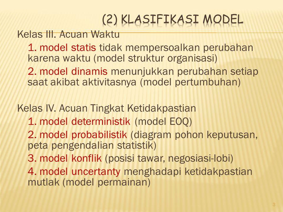 Kelas III. Acuan Waktu 1. model statis tidak mempersoalkan perubahan karena waktu (model struktur organisasi) 2. model dinamis menunjukkan perubahan s