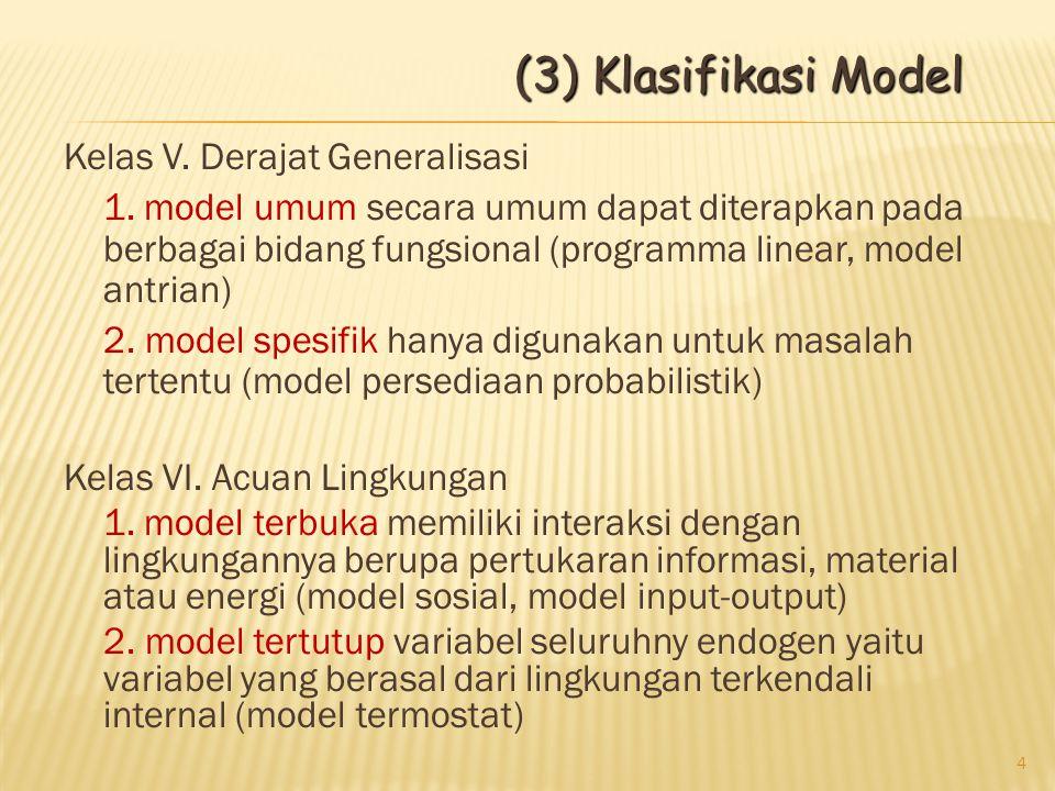 Kelas V. Derajat Generalisasi 1. model umum secara umum dapat diterapkan pada berbagai bidang fungsional (programma linear, model antrian) 2. model sp