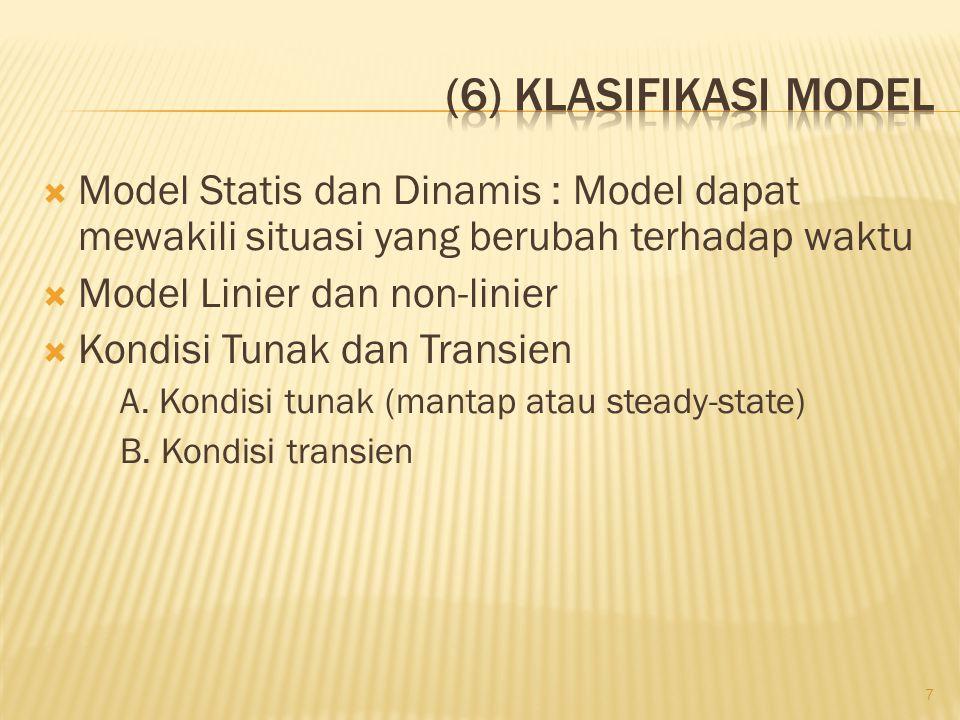  Model Statis dan Dinamis : Model dapat mewakili situasi yang berubah terhadap waktu  Model Linier dan non-linier  Kondisi Tunak dan Transien A. Ko