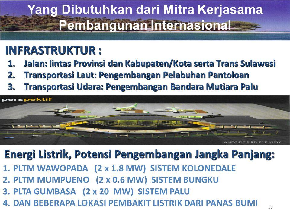 16 Yang Dibutuhkan dari Mitra Kerjasama Pembangunan Internasional INFRASTRUKTUR : 1.Jalan: lintas Provinsi dan Kabupaten/Kota serta Trans Sulawesi 2.Transportasi Laut: Pengembangan Pelabuhan Pantoloan 3.Transportasi Udara: Pengembangan Bandara Mutiara Palu Energi Listrik, Potensi Pengembangan Jangka Panjang: 1.PLTM WAWOPADA (2 x 1.8 MW) SISTEM KOLONEDALE 2.PLTM MUMPUENO (2 x 0.6 MW) SISTEM BUNGKU 3.PLTA GUMBASA (2 x 20 MW) SISTEM PALU 4.DAN BEBERAPA LOKASI PEMBAKIT LISTRIK DARI PANAS BUMI