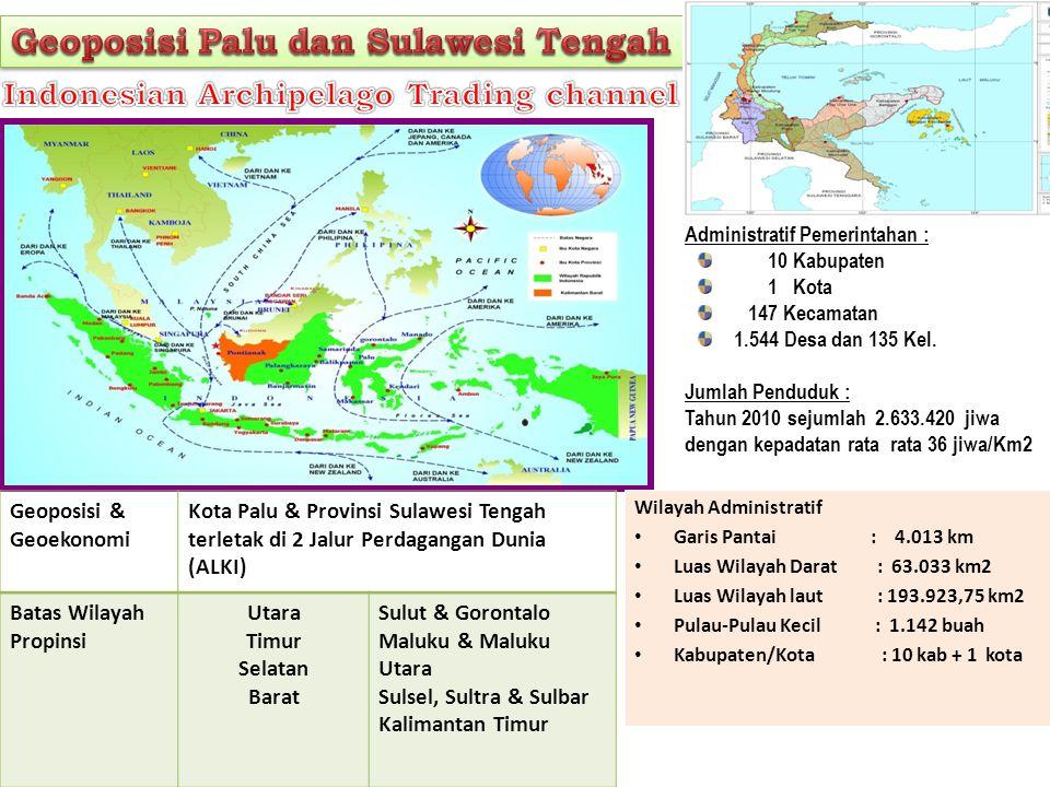 Geoposisi & Geoekonomi Kota Palu & Provinsi Sulawesi Tengah terletak di 2 Jalur Perdagangan Dunia (ALKI) Batas Wilayah Propinsi Utara Timur Selatan Ba
