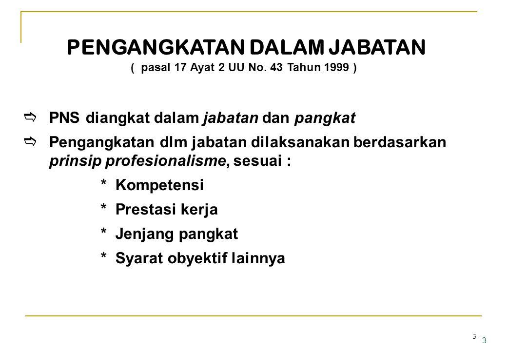 2 UNDANG-UNDANG NOMOR 43 TAHUN 1999 Pasal 17 ayat (1) PNS diangkat dalam jabatan dan pangkat tertentu •seseorang duduk dalam jabatan tertentu •seseora