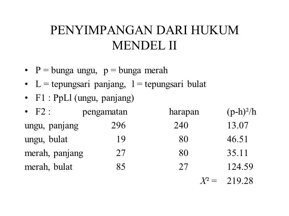 • X² hit > X² tb •Data tidak sesuai dengan nisbah 9 : 3 : 3 : 1 •315 ungu : 112 merah  segregasi •323 panjang : 104 pendek  segregasi •Uji silang : menentukan nisbah gamet yang dihasilkan indv.