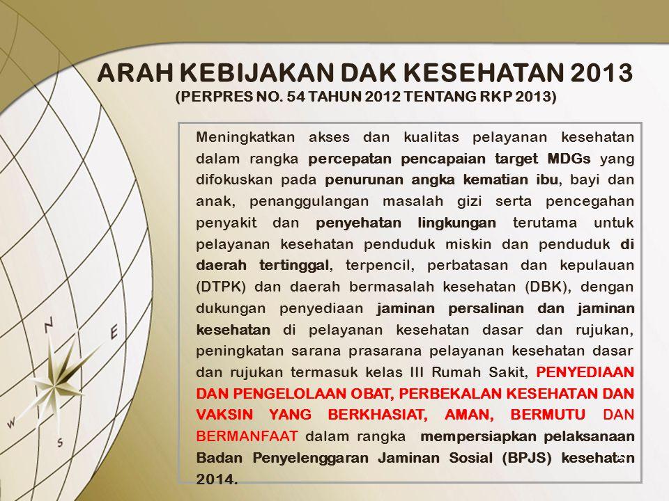 ARAH KEBIJAKAN DAK KESEHATAN 2013 (PERPRES NO. 54 TAHUN 2012 TENTANG RKP 2013) Meningkatkan akses dan kualitas pelayanan kesehatan dalam rangka percep