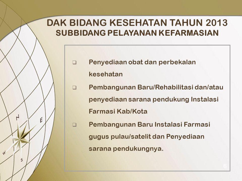 DAK BIDANG KESEHATAN TAHUN 2013 SUBBIDANG PELAYANAN KEFARMASIAN  Penyediaan obat dan perbekalan kesehatan  Pembangunan Baru/Rehabilitasi dan/atau pe