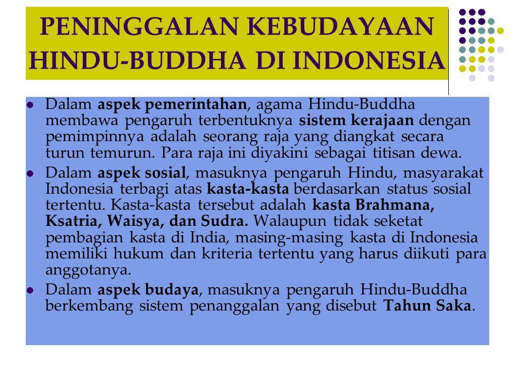 PENINGGALAN KEBUDAYAAN HINDU-BUDDHA DI INDONESIA  Dalam aspek pemerintahan, agama Hindu-Buddha membawa pengaruh terbentuknya sistem kerajaan dengan p