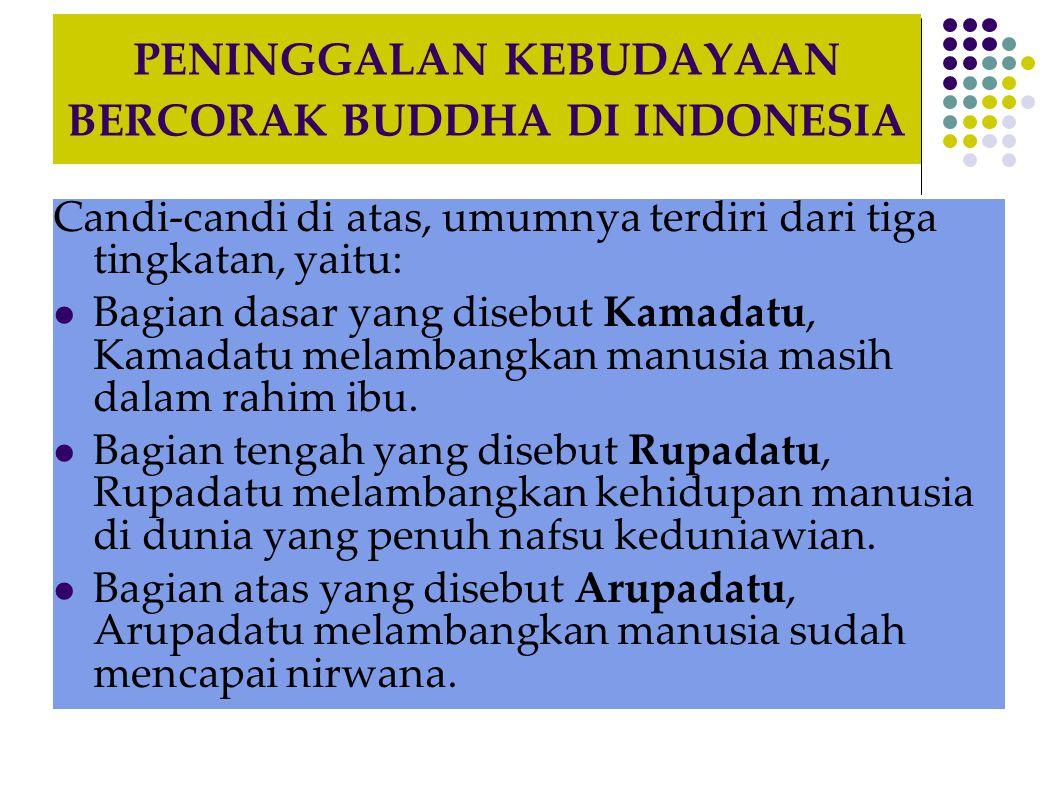 PENINGGALAN KEBUDAYAAN BERCORAK BUDDHA DI INDONESIA Candi-candi di atas, umumnya terdiri dari tiga tingkatan, yaitu:  Bagian dasar yang disebut Kamad