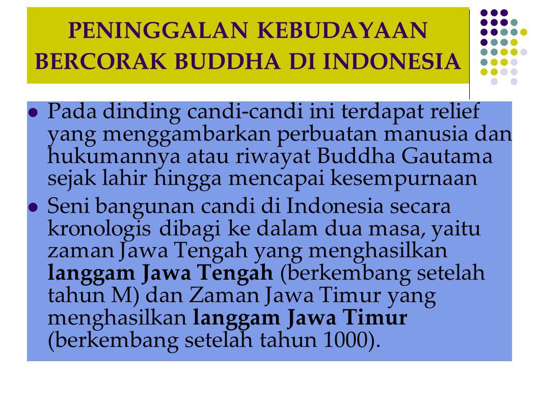 PENINGGALAN KEBUDAYAAN BERCORAK BUDDHA DI INDONESIA  Pada dinding candi-candi ini terdapat relief yang menggambarkan perbuatan manusia dan hukumannya