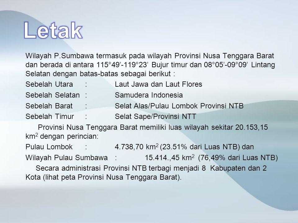 Wilayah P.Sumbawa termasuk pada wilayah Provinsi Nusa Tenggara Barat dan berada di antara 115°49'-119°23' Bujur timur dan 08°05'-09°09' Lintang Selata