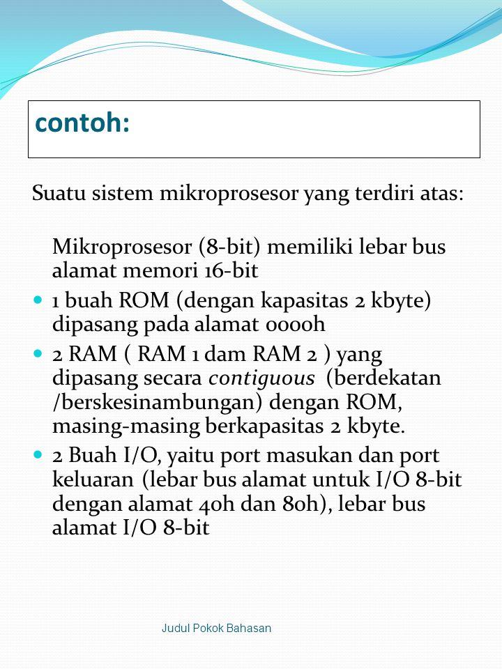 contoh: Suatu sistem mikroprosesor yang terdiri atas: Mikroprosesor (8-bit) memiliki lebar bus alamat memori 16-bit  1 buah ROM (dengan kapasitas 2 kbyte) dipasang pada alamat 0000h  2 RAM ( RAM 1 dam RAM 2 ) yang dipasang secara contiguous (berdekatan /berskesinambungan) dengan ROM, masing-masing berkapasitas 2 kbyte.