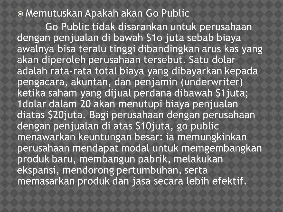  Memutuskan Apakah akan Go Public Go Public tidak disarankan untuk perusahaan dengan penjualan di bawah $1o juta sebab biaya awalnya bisa teralu ting