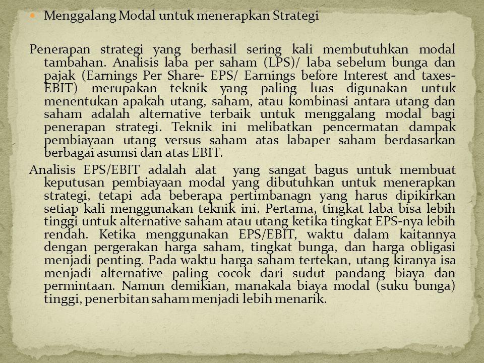  Menggalang Modal untuk menerapkan Strategi Penerapan strategi yang berhasil sering kali membutuhkan modal tambahan. Analisis laba per saham (LPS)/ l