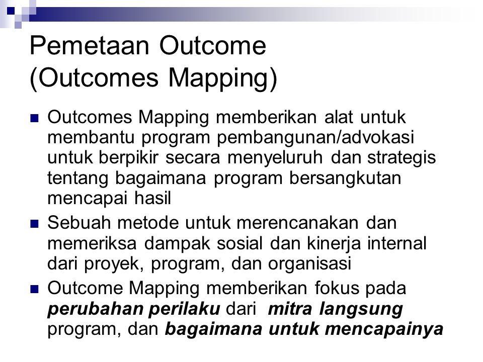 Pemetaan Outcome (Outcomes Mapping)  Outcomes Mapping memberikan alat untuk membantu program pembangunan/advokasi untuk berpikir secara menyeluruh dan strategis tentang bagaimana program bersangkutan mencapai hasil  Sebuah metode untuk merencanakan dan memeriksa dampak sosial dan kinerja internal dari proyek, program, dan organisasi  Outcome Mapping memberikan fokus pada perubahan perilaku dari mitra langsung program, dan bagaimana untuk mencapainya