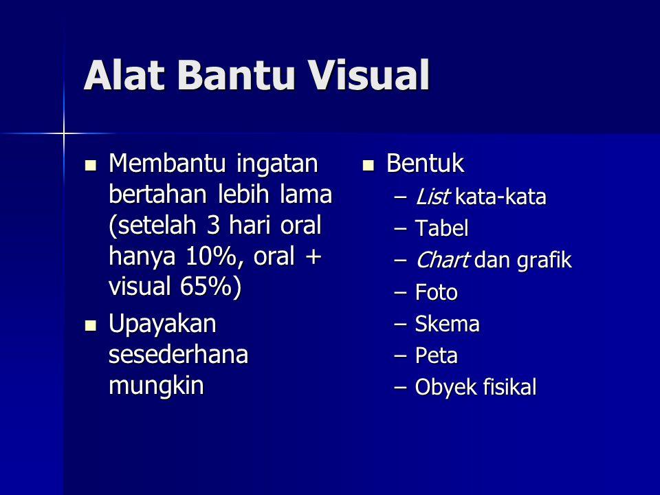 Alat Bantu Visual  Membantu ingatan bertahan lebih lama (setelah 3 hari oral hanya 10%, oral + visual 65%)  Upayakan sesederhana mungkin  Bentuk –L