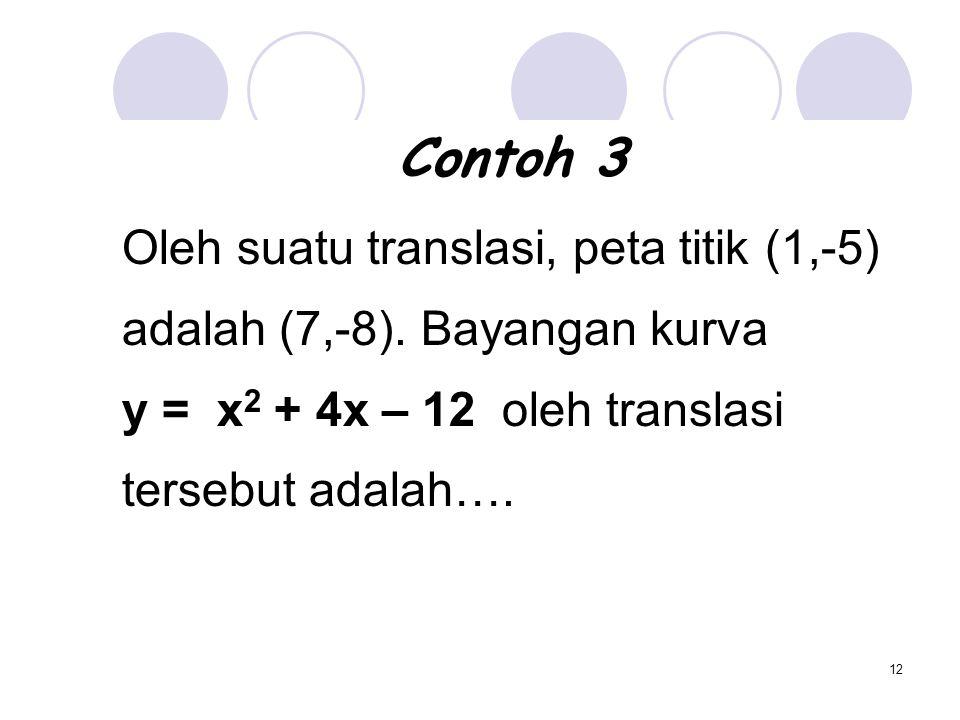 12 Contoh 3 Oleh suatu translasi, peta titik (1,-5) adalah (7,-8). Bayangan kurva y = x 2 + 4x – 12 oleh translasi tersebut adalah….