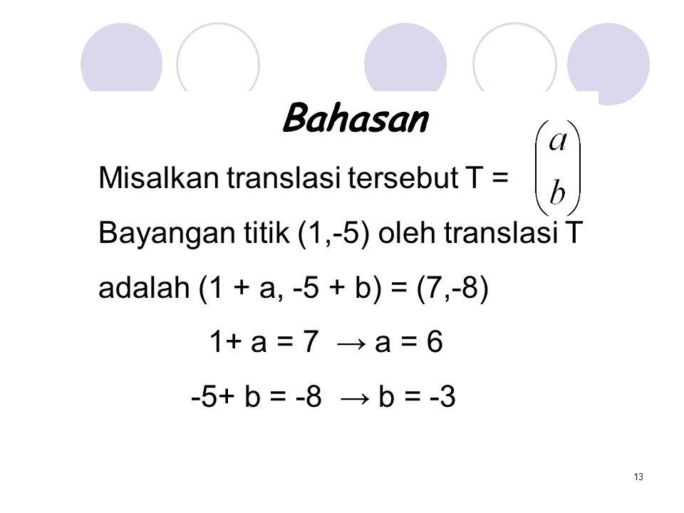 13 Bahasan Misalkan translasi tersebut T = Bayangan titik (1,-5) oleh translasi T adalah (1 + a, -5 + b) = (7,-8) 1+ a = 7 → a = 6 -5+ b = -8 → b = -3