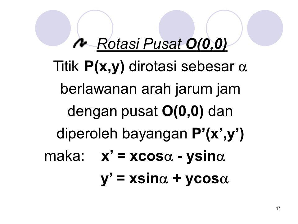 17 Rotasi Pusat O(0,0) Titik P(x,y) dirotasi sebesar  berlawanan arah jarum jam dengan pusat O(0,0) dan diperoleh bayangan P'(x',y') maka: x' = xcos