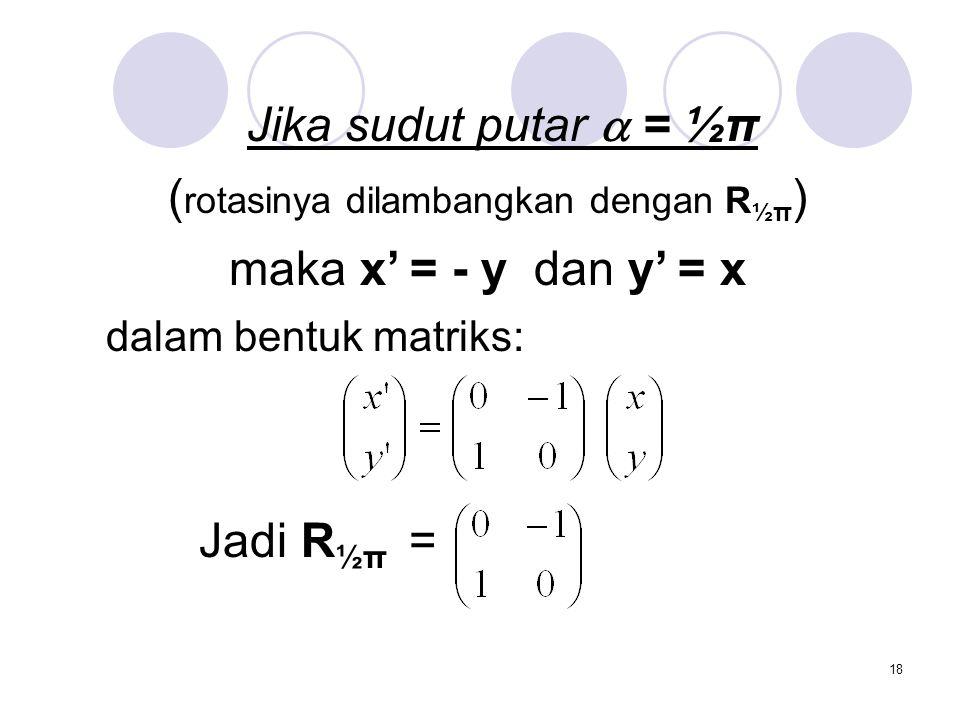 18 Jika sudut putar  = ½π ( rotasinya dilambangkan dengan R ½π ) maka x' = - y dan y' = x dalam bentuk matriks: Jadi R ½π =
