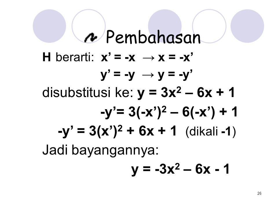 26 Pembahasan H berarti: x' = -x → x = -x' y' = -y → y = -y' disubstitusi ke: y = 3x 2 – 6x + 1 -y'= 3(-x') 2 – 6(-x') + 1 -y' = 3(x') 2 + 6x + 1 (dik