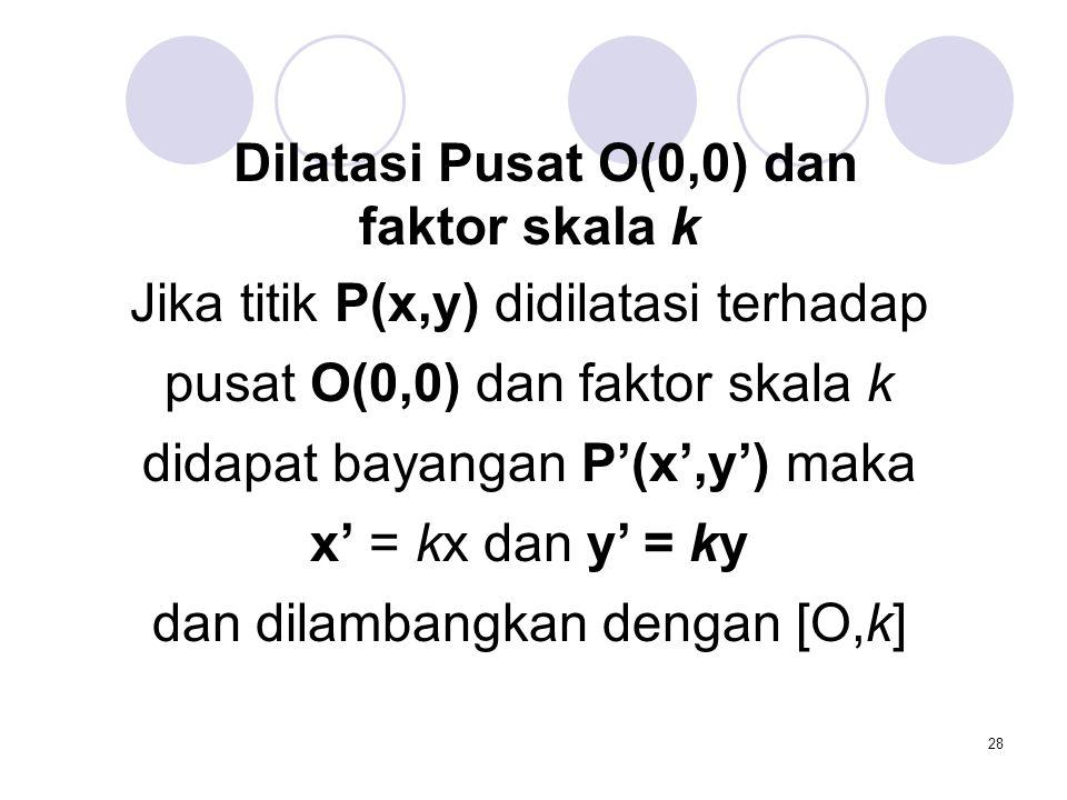 28 Dilatasi Pusat O(0,0) dan faktor skala k Jika titik P(x,y) didilatasi terhadap pusat O(0,0) dan faktor skala k didapat bayangan P'(x',y') maka x' =