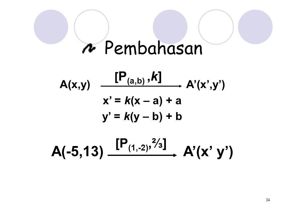 34 Pembahasan A(x,y) A'(x',y') x' = k(x – a) + a y' = k(y – b) + b A(-5,13) A'(x' y') [ P (a,b),k] [P (1,-2),⅔]