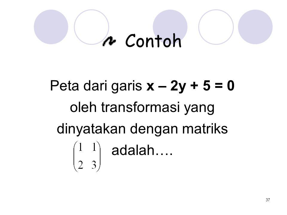 37 Contoh Peta dari garis x – 2y + 5 = 0 oleh transformasi yang dinyatakan dengan matriks adalah….