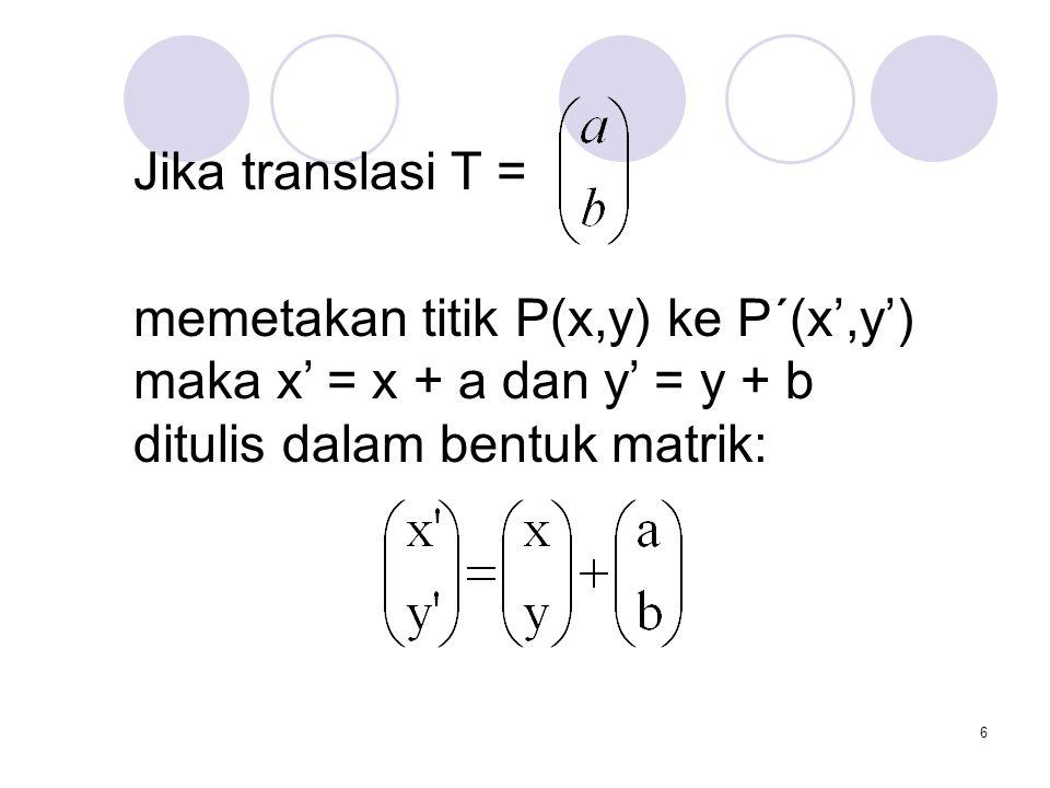 6 Jika translasi T = memetakan titik P(x,y) ke P´(x',y') maka x' = x + a dan y' = y + b ditulis dalam bentuk matrik: